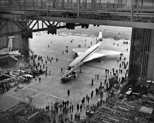Picture taken March 31, 1971 of Concorde 001 at the British Aircraft Corporation (BAC)'s Filton Works in Bristol. / AFP PHOTO /