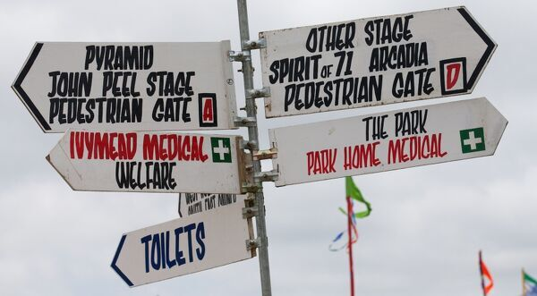 A signpost for directions on the fifth day of the Glastonbury Festival of Contemporary Performing Arts near Glastonbury, southwest England on June 30, 2013