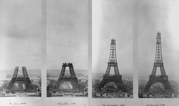 To illustrate 120 years of the Eiffel Tower. A montage of 4 photos of the construction of the Eiffel Tower in Paris. From left to right, the Eiffel Tower photographed on the 14th June 1888, 10th July 1888, 26th December 1888 and the 20th Janunary 1889