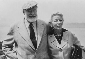 American writer Ernest Hemingway with his wife on board the Constitution