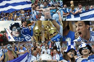 A combination of pictures taken in June 2012 shows Greek supporters during the Euro