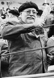 Ernest Hemingway at a bullfight in Pamplona