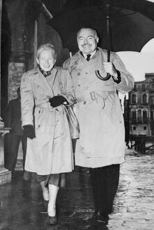 Ernest Miller Hemingway visits Venice in 1948 with wife, Mary Welsh.