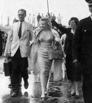 Marilyn Monroe and Arthur Miller Arrive at London Airport.
