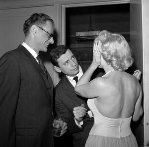 Marilyn Monroe Joking with Arthur Miller and Yves Montand