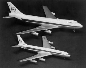 Two models of Boeing planes are compared : Boeing 747 (top) is two and a half times