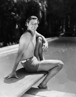 Portrait of US swimmer Johnny Weissmuller