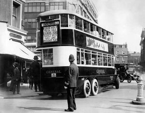 Six wheel pneumatic double decker omnibus pictured in the 1920s