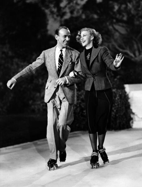 Fred Astaire and Ginger Rogers shooting Shall We Dance