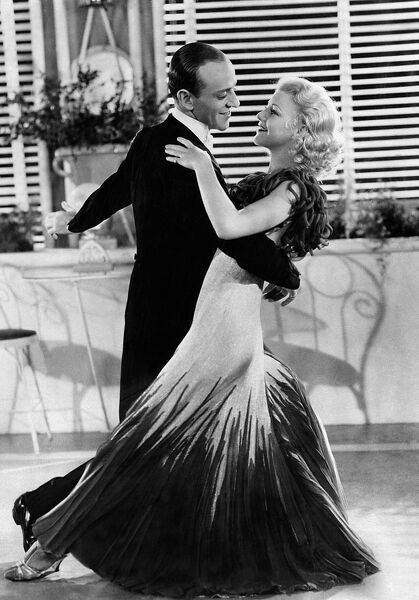 "Picture taken in 1934 of US actress, dancer and singer Ginger Rogers, dancing with her partner of Fred Astaire, during the shooting of the film ""The Gay Divorcee"". The production was largely a showcase for the legendary talents of Rogers and Astaire"