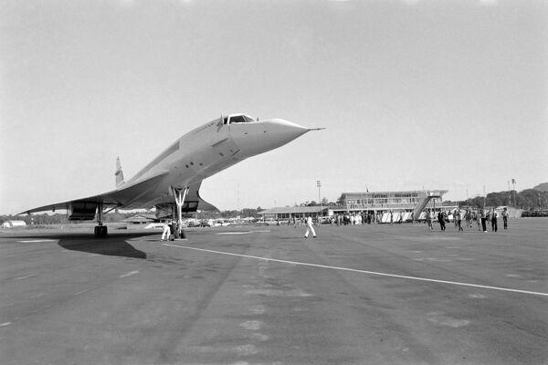 The Concorde 001 prototype, the Franco-British supersonic aircraft, is parked on the tarmac of the Cayenne-Rochambeau airport, on September 06, 1971. From 4 to 18 September 1971, Concorde 001 undertook an important sales promotion tour to South America