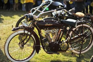A 1915 Indian Model B motorcycle is displayed during an antique car show in Nairobi