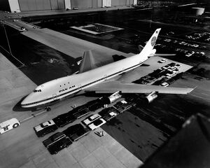 vintage archive/aerial view boeing 747 called jumbo jet