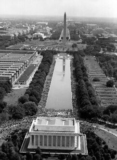 vintage archive/aerial view shows march washington participants