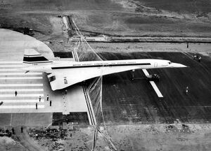 Aerospatiale picture shows plane Concorde 001 landing in a barriere during a test