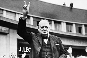 Churchill Making the V-for-Victory Sign