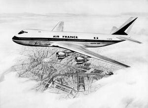 Concept artist shows an Air France Boeing 747 flying over Paris, September 18, 1966