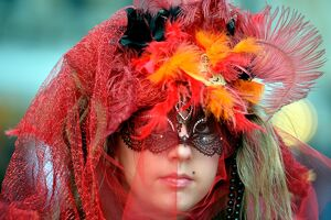 A costumed reveller poses near Saint Mark's square during the carnival on February 21