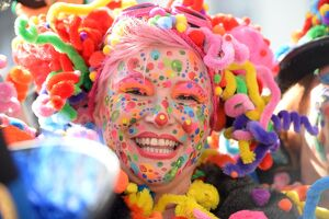 A costumed woman celebrates the street carnival in Duesseldorf, western Germany