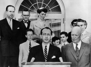 Dr Jonas E. Salk, who developed the anti-polio vaccine, speaking at a White House
