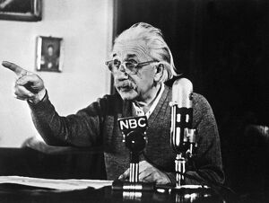 German-born Swiss-US physicist Albert Einstein Broadcasting