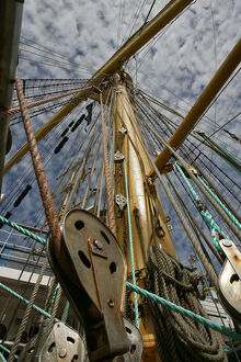 Photo shows the rigging of a tall ship docked at the Lithuanian Baltic Sea port of