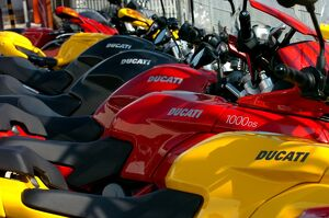 In this photo taken on December 15, 2011, Ducati motorcycles are on display outside