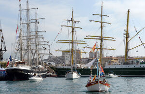 This picture taken on September 27, 2013 shows the 'Belem' (L) and the