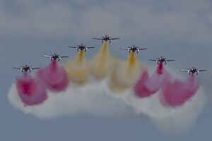 Planes of the Spanish Aguila Patrol perform during the Motril International Air Festival