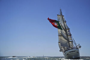 Portuguese sailing boat Sagres sail in Tejo River in Lisbon on July 19, 2012, during