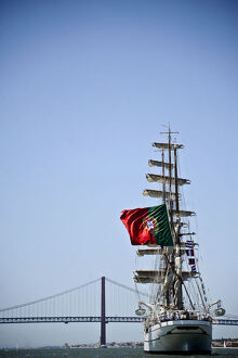 Portuguese sailing boat Sagres sails in Tejo River in Lisbon on July 19, 2012 during