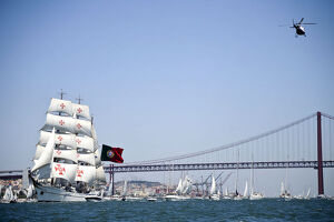 Portuguese sailing boat Sagres sails in Tejo River in Lisbon on July 19, 2012, during