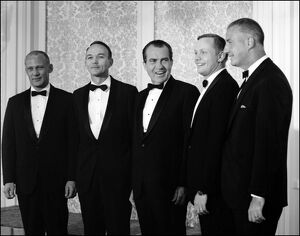 Richard Nixon and vice-President Spiro Agnew with Apollo 11 Astronauts of the