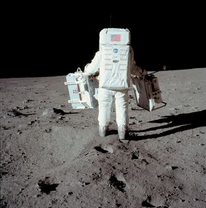 SPACE-MOON-APOLLO XI-ALDRIN-FIRST STEP